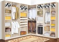 Wall Bedroom Decor Particle Board Cabinets / Heat Proof White Solid Wood Wardrobe